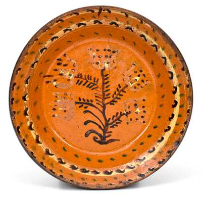 Very Rare Alamance County, North Carolina Redware Bowl w/ Profuse Three-Color Slip Decoration