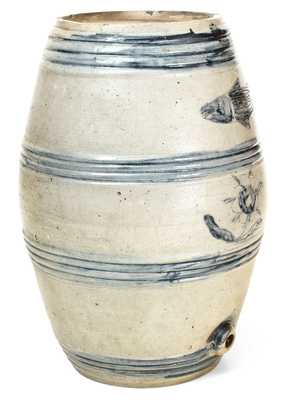 Excellent Early Albany, NY Stoneware Incised Fish Barrel Cooler