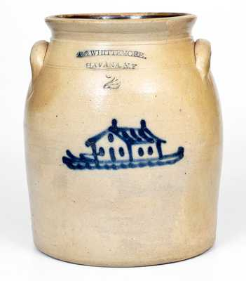 2 Gal. A. O. WHITTEMORE / HAVANA, NY Stoneware Jar w/ House Design