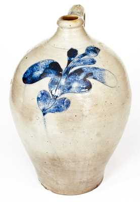 Manhattan Stoneware Jug with Bold Incised Floral Decoration, circa 1800