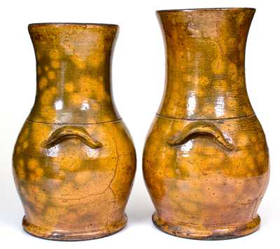 Extremely Rare Pair of WINCHESTER / POTTERIES / VA Redware Porch Vases