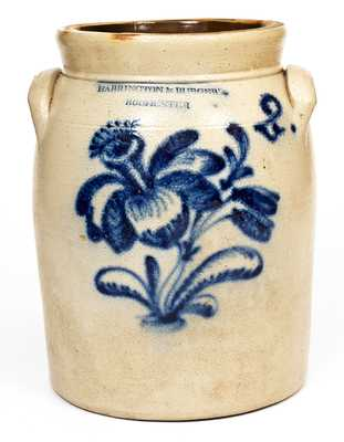 2 Gal. HARRINGTON & BURGER / ROCHESTER Stoneware Jar w/ Elaborate Decoration