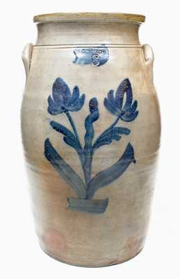 6 Gal. P. H. SMITH, Akron, Ohio Stoneware Churn with Floral Decoration