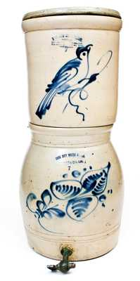 Very Unusual GATE CITY WATER COOLER Two-Piece Filter with Bird Decoration