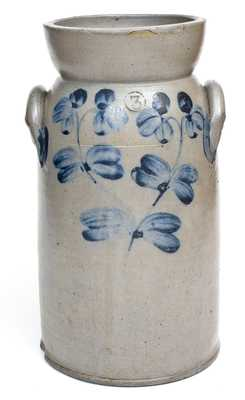 3 Gal. Stoneware Churn with Floral Decoration, Baltimore, MD, circa 1860