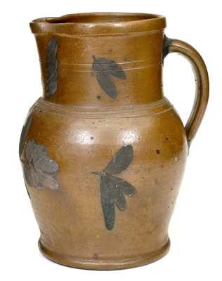 Attrib. R.J. Grier, Chester County, PA Stoneware Pitcher with Floral Decoration