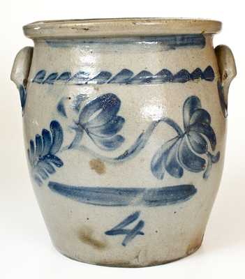 4 Gal. Beaver, PA Stoneware Jar with Bold Cobalt Floral Decoration