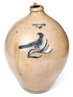 Rare 3 Gal. C. BOYNTON / TROY Stoneware Jug with Incised Bird Decoration