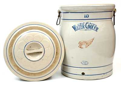 10 Gal. RED WING, Minnesota Stoneware Water Cooler with Lid