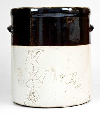 Unusual Brown and White People Crock Inscribed