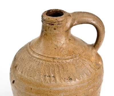 Important 18th Century Manhattan Stoneware Jug with Chattered Decoration