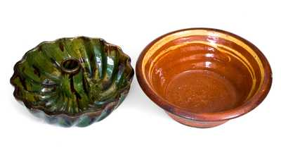 Lot of Two: Redware Bowl w/ Slip Decoration, Green and Brown Redware Cake Mold