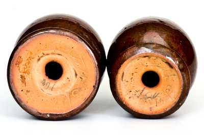 Redware Salt and Pepper Shakers, Stahl Pottery, Lehigh County, PA