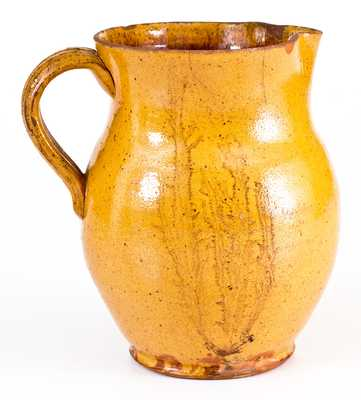 Pennsylvania Redware Pitcher w/ Mocha-Style Design, c1860
