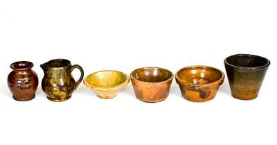 Lot of Six: Small-Sized Redware Pitcher, Pots, and Cups