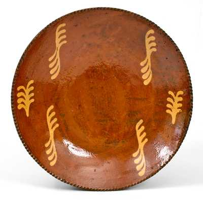 Large Philadelphia, PA Slip-Decorated Redware Charger