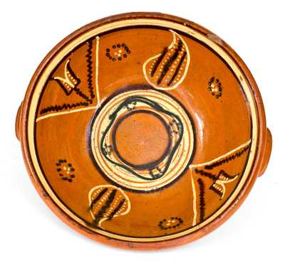 Exceptional Redware Bowl with Three-Color Slip Decoration