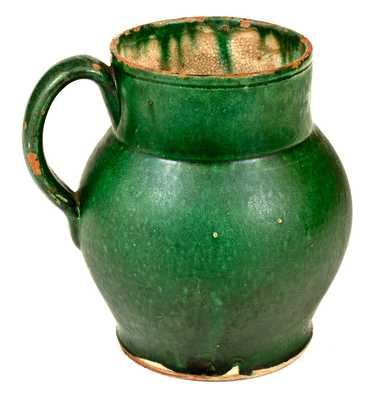 Rare and Important John Bell (I. BELL) Early Redware Ale Mug w/ Bold Green Glaze