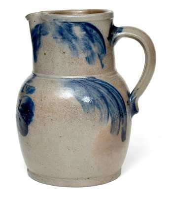 1/2 Gal. Baltimore Stoneware Pitcher with Floral Decoration, circa 1850