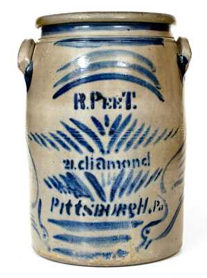 Exceptional R. Peet / Pittsburgh Stoneware Advertising Jar w/ Large Freehand Birds