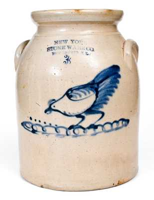 NEW YORK STONEWARE CO. / FORT EDWARD, NY Stoneware Jar w/ Chicken Decoration