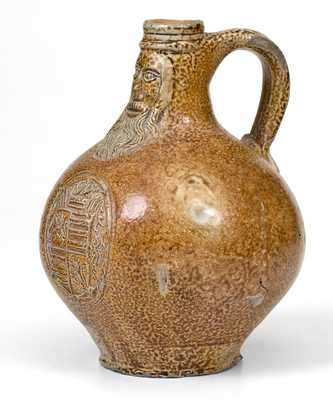 Bellarmine Stoneware Jug, probably Frechen, Germany, 16th or 17th century