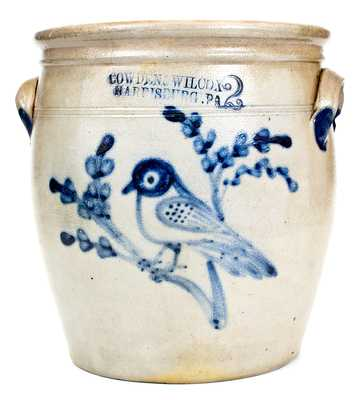 Rare COWDEN & WILCOX / HARRISBURG, PA Stoneware Jar w/ Elaborate Bird-on-Branch