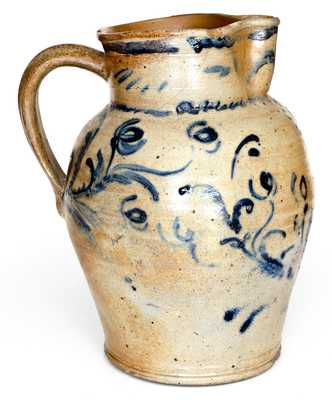 Outstanding 2 Gal. Baltimore Stoneware Pitcher w/ Elaborate Floral Decoration, c1825