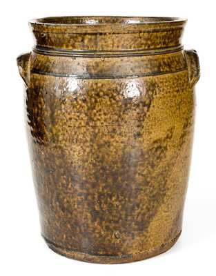 Very Unusual Crawford County, GA, Alkaline-Glazed Stoneware Jar w/ Incised Window Decoration