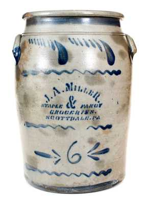 6 Gal. Western PA Stoneware Jar with SCOTTSDALE, PA Stenciled Advertising