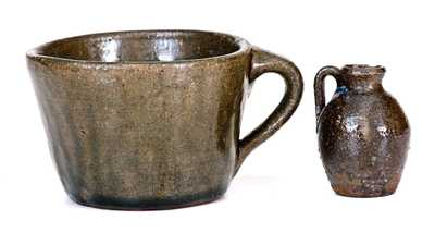 Two Pieces of Southern Stoneware: Signed Arie Meaders Mug and Miniature Unsigned NC Jug