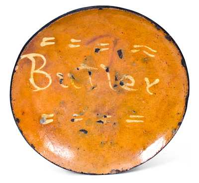 Rare Huntington, Long Island Slip-Decorated Redware Plate, Inscribed