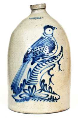 HUDSON N.Y. POTTERY Five-Gallon Stoneware Jug w/ Cobalt Pheasant-on-Stump