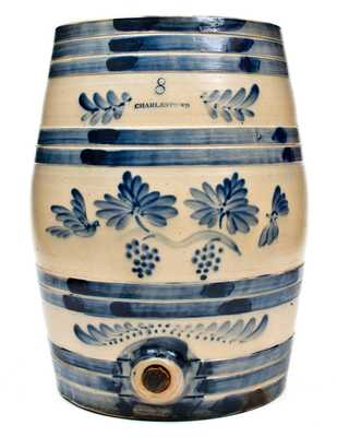 Excellent Eight-Gallon Charlestown, MA Stoneware Cooler w/ Grapes and Birds