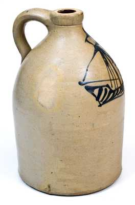 Exceptional Northeastern US Stoneware Jug w/ Folk Art Ship