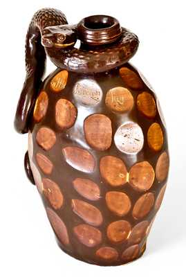 The Anna Pottery High Water Flask: Very Important Elaborate Snake Flask w/ Poetic Inscriptions