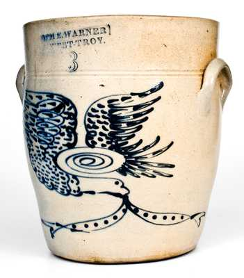 Outstanding WM. E. WARNER / WEST TROY Stoneware Jar w/ Elaborate Slip-Trailed Eagle