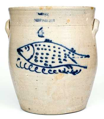 Rare W. HART / OGDENSBURGH Stoneware Jar w/ Large Fish Decoration