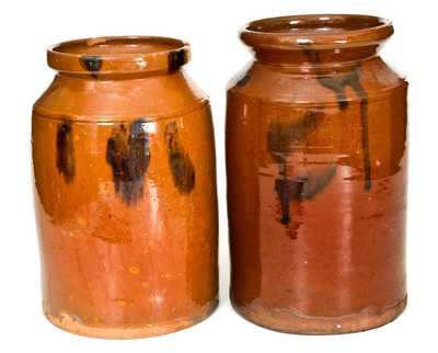Lot of Two: Norwalk, CT Redware Jars with Manganese Decoration