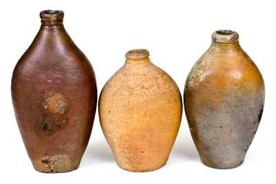 Lot of Three: Early Stoneware Flasks