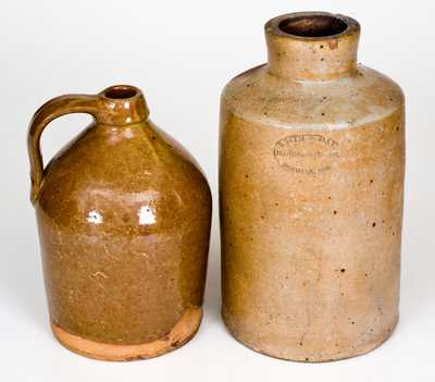 Lot of Two: SMITH & DAY / NORWALK, CT Oyster Jar, Unsigned Redware Jug