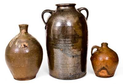 Lot of Three: Alkaline-Glazed Southern Stoneware, 19th Century