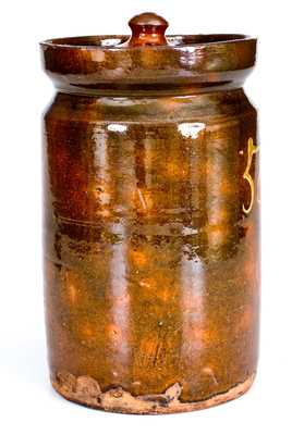 Rare Numbered Redware Apothecary Jar (58), att. Nathaniel Seymour, East Hartford, CT