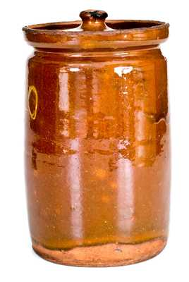 Rare Numbered Redware Apothecary Jar (40), attrib. Nathaniel Seymour, East Hartford