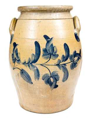 7 Gal. Beaver, PA Stoneware Jar with Elaborate Cobalt Floral Decoration