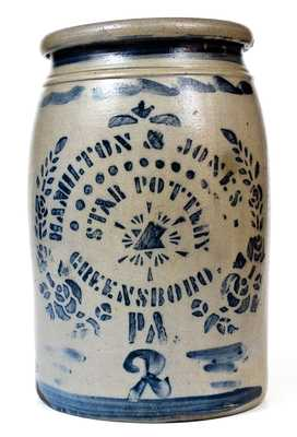 Very Fine Hamilton & Jones / Star Pottery / Greensboro, PA Stoneware Jar