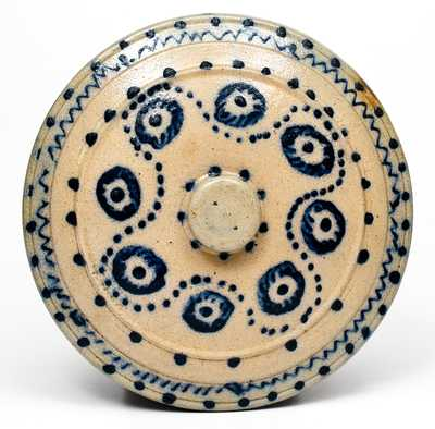 Rare Domed Stoneware Lid with Profuse Cobalt Decoration, New York State origin