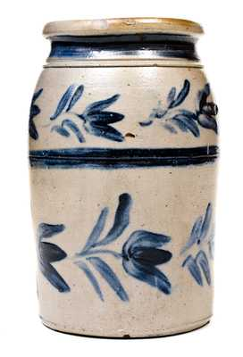 Rare Atchison (New Geneva, PA) Stoneware Jar w/ Elaborate Freehand Floral / Stripe Decoration