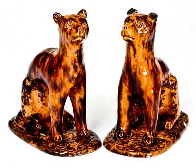 Exceedingly Rare and Important Pair of Redware Cat Figures att. Solomon Bell, Strasburg, VA