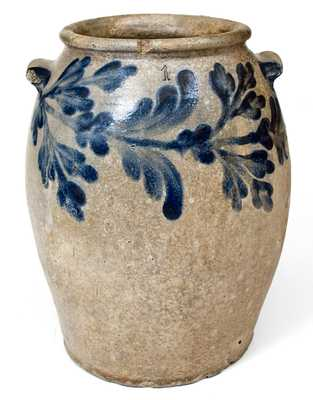H. SMITH & CO. (Alexandria, VA) Stoneware Jar with Cobalt Floral Decoration